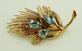 14k Natural Blue Topaz & Diamond Leaf Brooch. Conta
