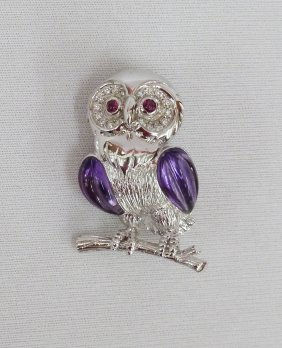 18k Owl On Branch Figural Brooch With Diamonds, Ame