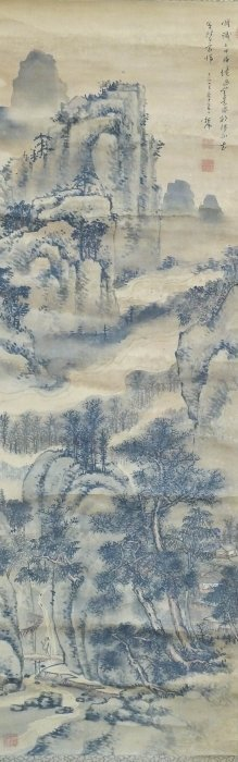 Japanese Meiji Landscape Sumi Scroll Painting ''Buddhis