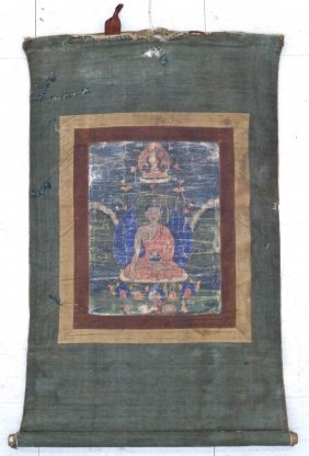 Antique Chinese Tibetan Painted Thangka Mounted On Clot