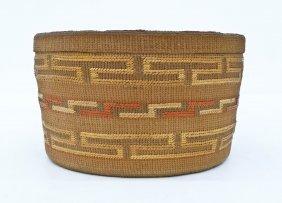 Antique Tlingit Rattle Top Indian Basket 4.25''x7.5''.