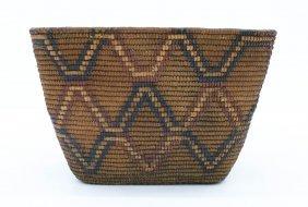 Antique Lillooet Salish Indian Basket 8''x12.5''.
