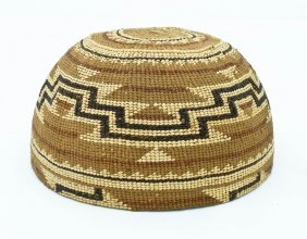 Old Hupa Indian Polychrome Basketry Hat 3.5''x7''.