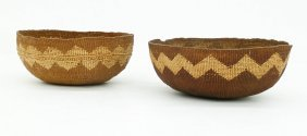 2pc Old Hupa Indian Basketry Eating Bowls. Lot Includes