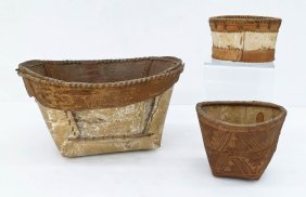 3pc Old Athabascan Birch Bark Indian Baskets. Includes