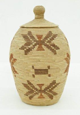 Old Inuit Eskimo Large Knob Top Indian Basket