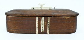 Antique Eskimo Bentwood Hunter's Toolbox 7''x19''.