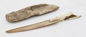 2pc Antique Eskimo Ivory Implements. Includes A Harpoon