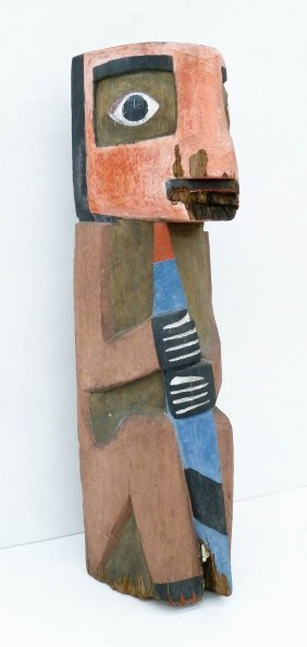 Old Chief Seattle Totem Pole Fragment 44''x11''.
