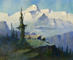 Eustace Ziegler (1881-1969 Alaskan) ''my Studio. Mt.