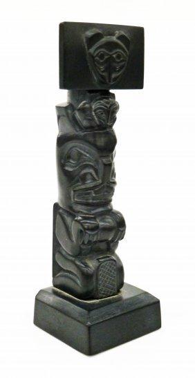 Glen Pollard (b.1957 Haida) Argillite Mortuary Totem