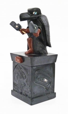 Gary Olver (b.1966 Cree) Raven Dancer Argillite &
