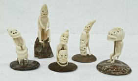 5pc Greenland Eskimo Ivory Tupilak Figures on Stands.