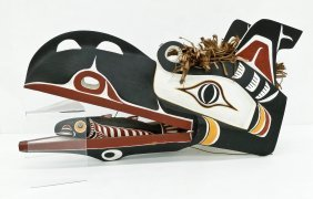 A Northwest Coast Raven Mask 17''x30''x10''. An
