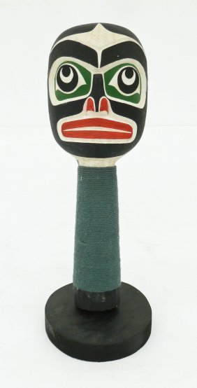 A Northwest Coast Rattle 9.25''x3.25''. Carved Cedar