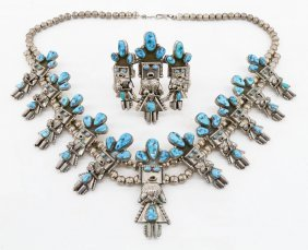 2pc Doris Smallcanyon Navajo Squash Blossom & Bracelet