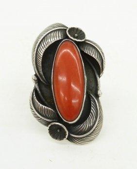 Carl Luthy Navajo Ring 1.5''x1''. Deep Red Coral