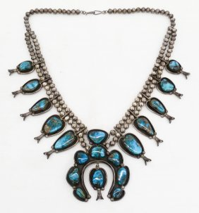 Navajo Silver & Turquoise Squash Blossom 24''. A Large
