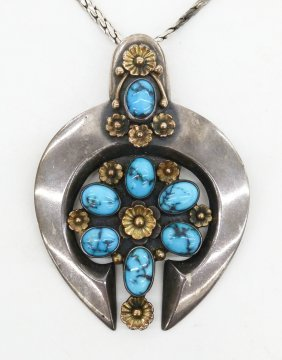 Carl Luthy Navajo Pendant Necklace 2.5''x1.75''. Ornate
