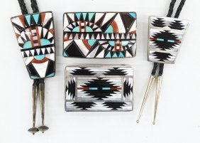 2 Pairs Of Zuni Inlaid Silver Bolo Sets. Includes A