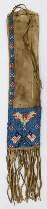 Old Plains Pictorial Beaded Pipe Bag 26''x4.5''.