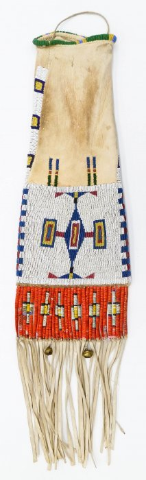 Old Lakota Sioux Quilled Pipe Bag 30''x8''. Polychrome