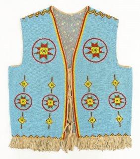 Impressive Sioux Beaded Vest 30''x25''. An Ornate