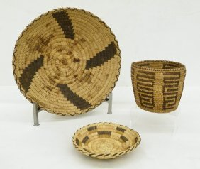 3pc Southwest Coiled Indian Baskets. Includes A Pima