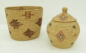 2pc Inuit Large Indian Grass Baskets. Includes A