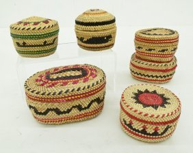 6pc Makah Pictorial Trinket Baskets. Brightly Colored