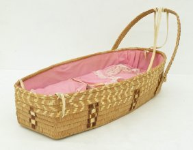 Lillooet Indian Basketry Cradle 27''x12''. Polychrome