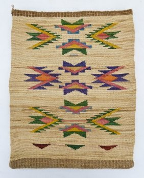 Large Nez Perce Cornhusk Bag 17''x13.5''. Polychrome