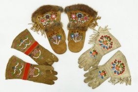 3 Pairs Of Native Beaded Gauntlet Gloves. Includes An