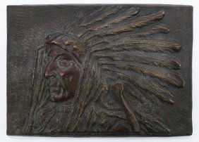 Walt Wiggins ''indian Chief'' Bronze Sculptural Plaque