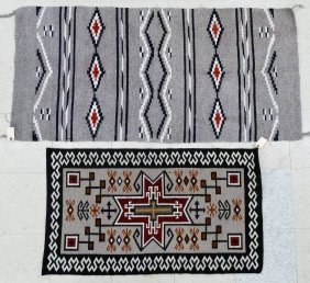 4pc Old Navajo Long Wool Rugs. Includes a polychrome