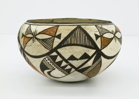 "Antique Acoma Polychrome Bowl 4""x7"". Repeating Native G"