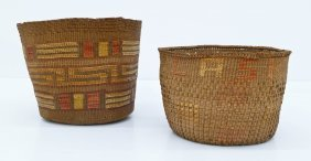 2pc Old Haida Decorated Indian Baskets. Includes A Spru