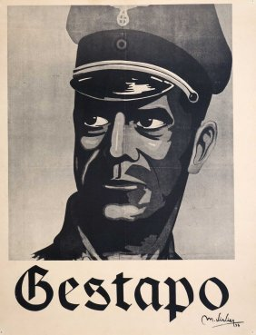 Wwii Ss Gestapo Poster, Nsdap Label Verso, Tipped In