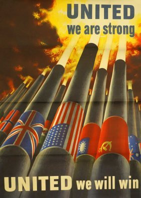 1943 [united We Are Strong Us Allies] Wwii Poster,