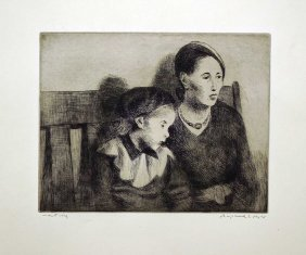 Raphael Soyer Signed Original Aaa Lithograph [waiting],