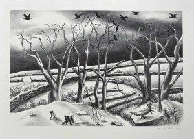 Ernest Fiene Signed Original Aaa Lithograph [winter