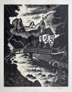 Fritz Richter (germany, B.1904) Signed Woodcut. 11'' X