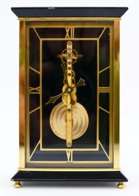Jaeger Lecoultre Brass Skeleton Desk Clock