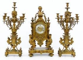 Impressive Vassy Jeure Paris French Clock & Garniture