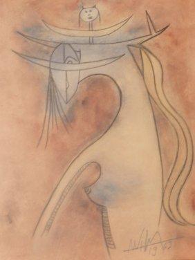 "Wilfredo Lam Watercolor ""Untitled"""