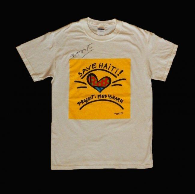 Romero Britto Save Haiti T Shirt Hand Signed Lot 6