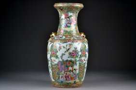 19C Rose Medallion Vase.  Meticulously Painted In V