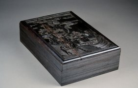 Chinese Zitan Deeply Carved Wooden Box.  Great Deta