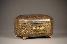 18c -19c Chinese Wooden And Highly Decorated Footed
