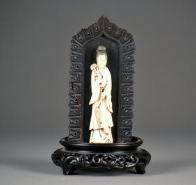 Ivory Carving Of Guan Yin On A Beautifully Carved
